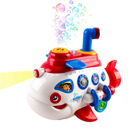 Toy Submarine Bubble Boat Battery Operated With Lights And Music Great For Learning Bubble Solution And Funnel Included Bump And Go Action Fun For Kids White (Bubble Guppy Toys)