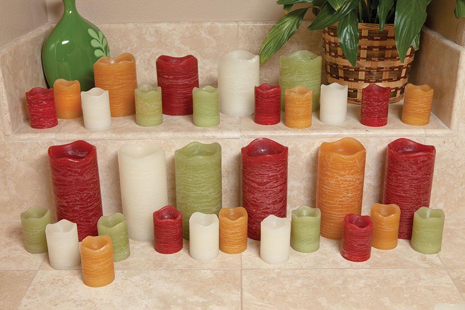 """Inglow 6/"""" Flameless Rustic Pillar Pomegranate Scented Candle"""