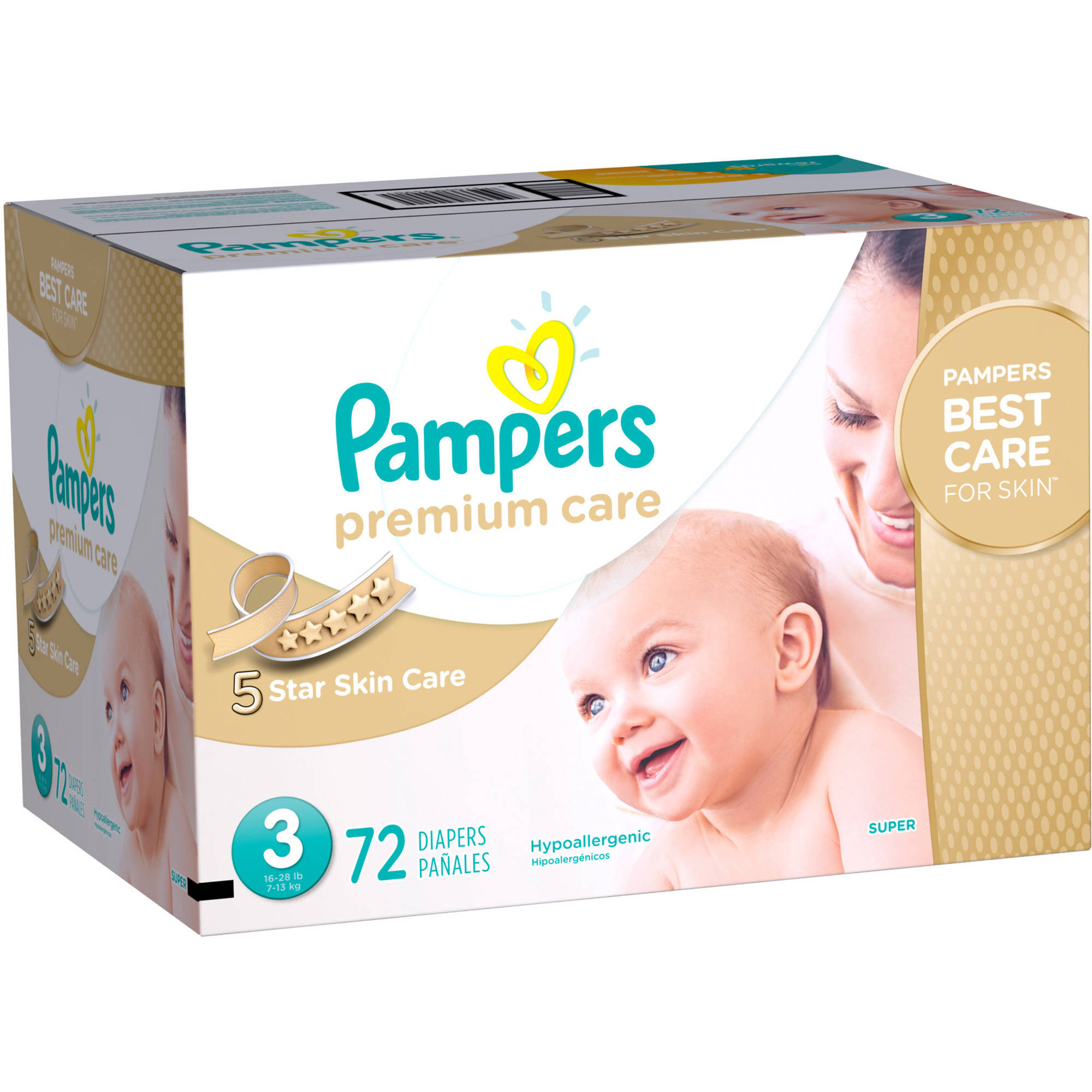 Pampers Premium Care Diapers, Size 3, 72 Diapers