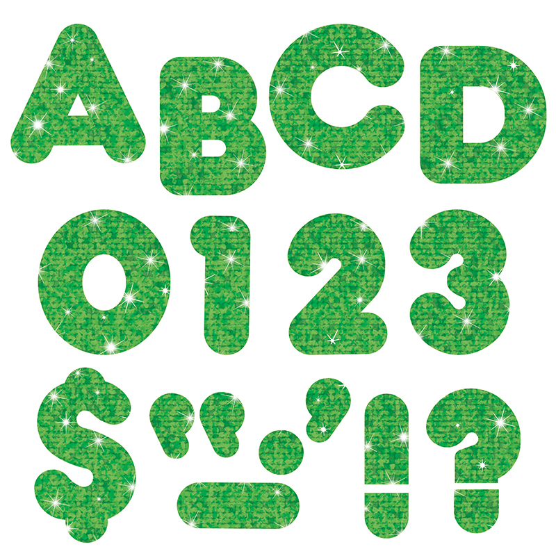 (6 Pk) Ready Letters 2In Casual Green Sparkle