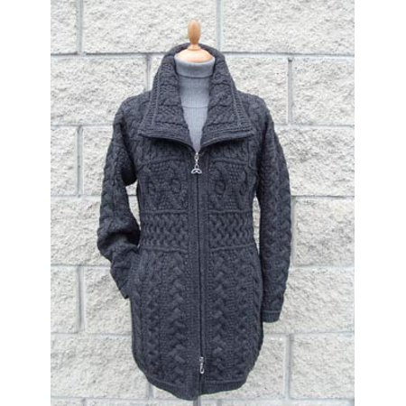 Irish Merino Wool Double Collar Aran Knit Coat (Merino Wool Zip Top)