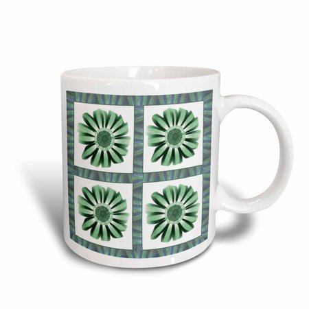 3dRose Four soft green striped flowers with blue and green flower petal border, Ceramic Mug, 11-ounce