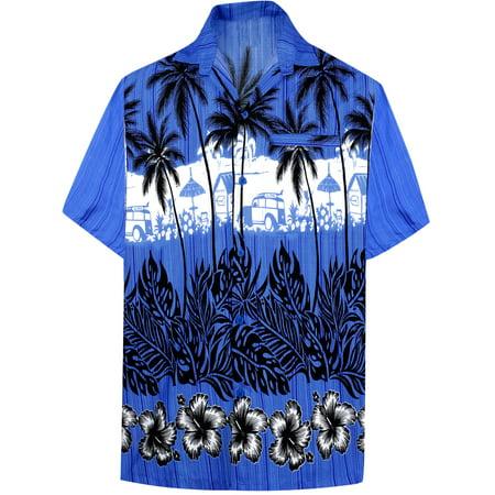 d80d64fa Hawaiian Shirt Mens Beach Aloha Camp Party Casual Holiday Tropical Shirt  Palm Tree Print F