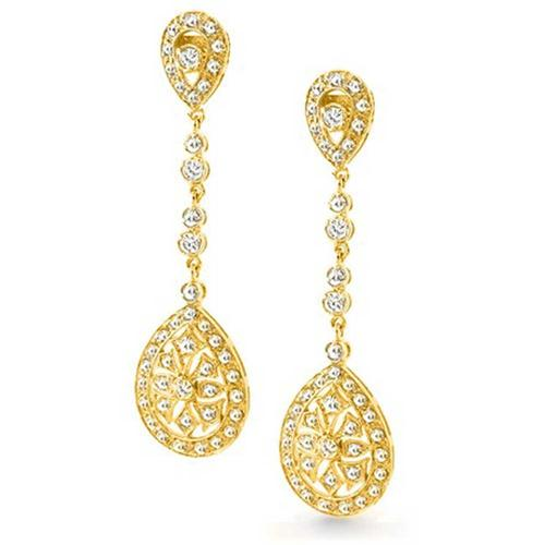 Bling Jewelry Pave CZ Classic Teardrop Gold Plated Chandelier Earrings