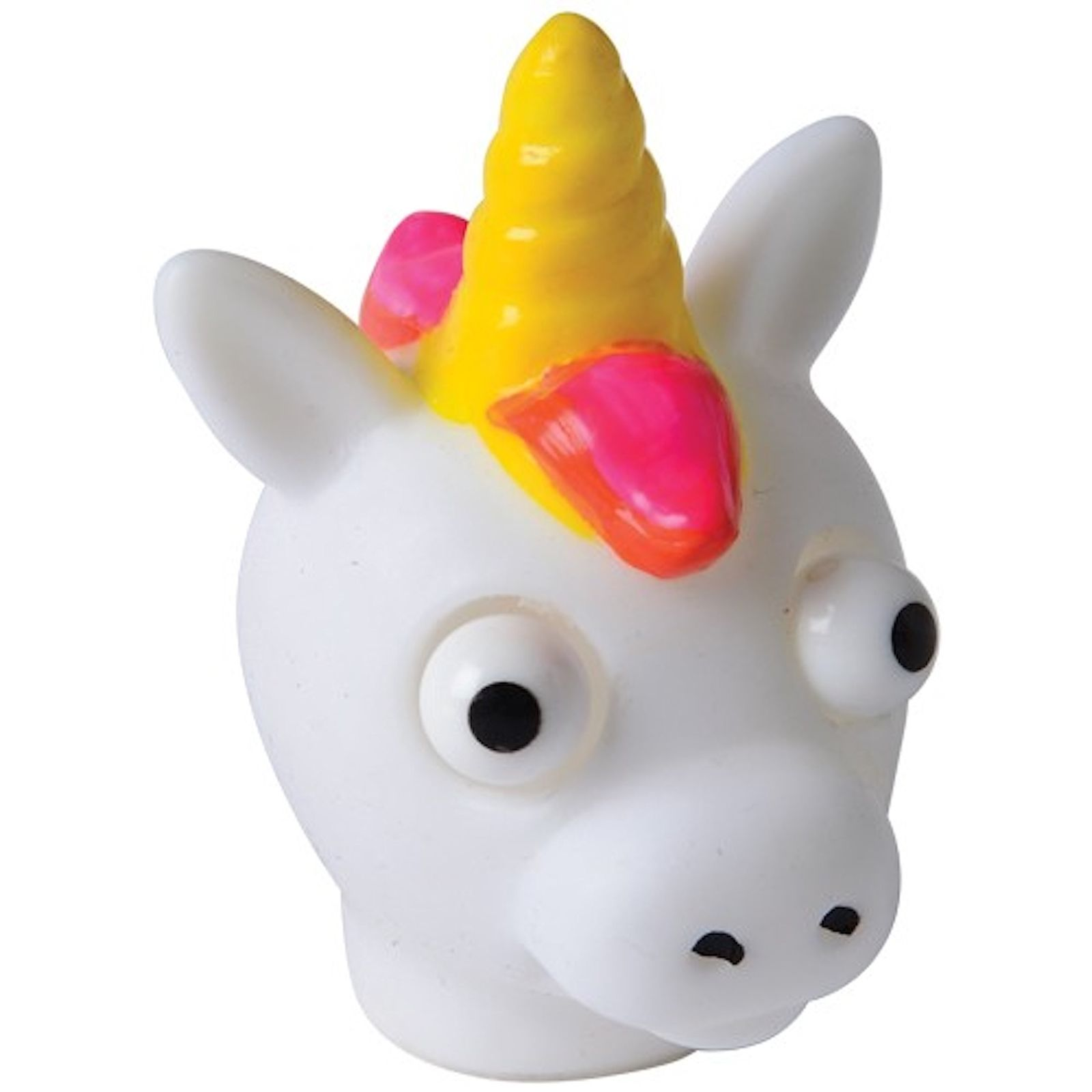 "US Toy Popping Eye Unicorns Stress Squisher 2.5"" Party Favors, White, 12 Pack"