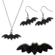 Bat Necklace, Earrings and Pin Jewelry Set
