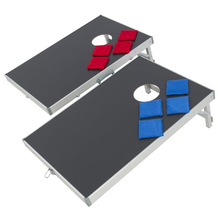 CornHole Bean Bag Toss Game Set Aluminum Frame Portable Design W/ Carrying Case (Bag Toss)