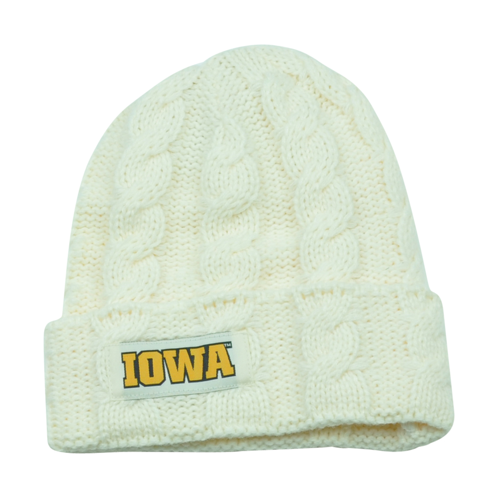 NCAA Iowa Hawkeyes Keira Women Cuffed Crochet Beanie Knit Ladies Winter Hat by Captivating Headgear