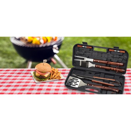 Cuisinart® 13 Piece Wooden Grill Tool Set - Includes Spatula, Brush, Tongs, 4 Stainless Skewers, 4 Corn Cob Holders