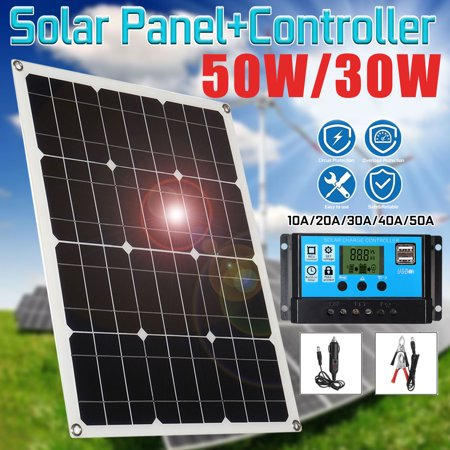 50W 18V 2 USB Flexible Dual USB Solar Battery Charger Solar Panel Monocrystalline Module Car Charger with DC Alligator Clip for Phone Tablet GPS RV Cabin Cr Tent Trucks Trailers