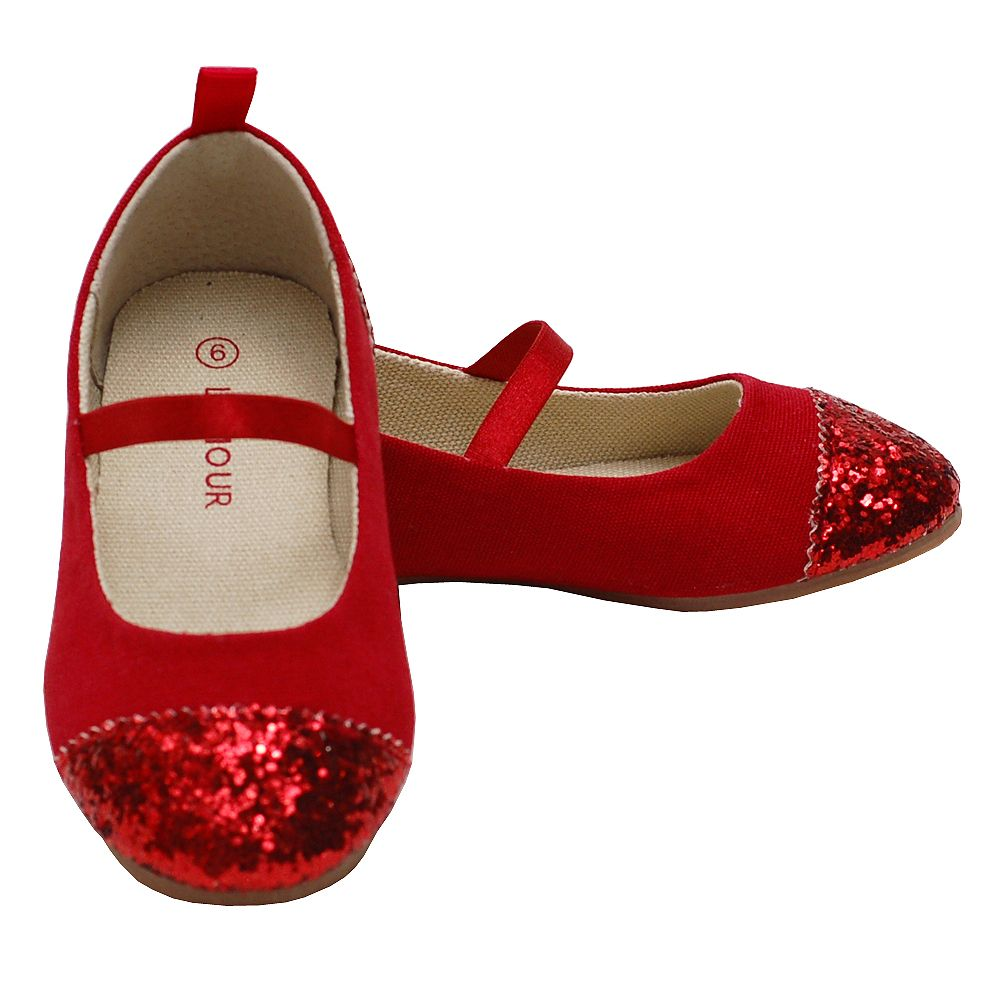 L Amour - L Amour Red Glitter Heel Toe Mary Jane Style Shoe Toddler Girl  5-Little Girl 4 - Walmart.com b2eb24861729