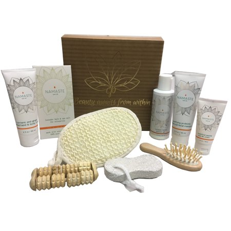 Holiday Collection Home Spa Bath and Body Natural Skin Care Gift Sets By Namaste Skin (10-Piece Box - Cure Gift