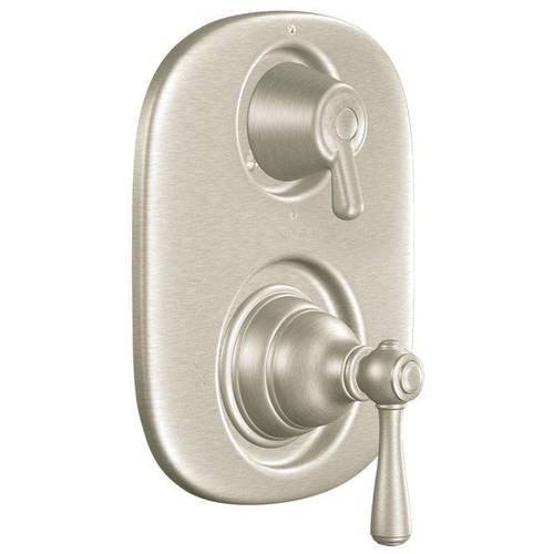 Moen T4111P Double Handle Moentrol Pressure Balanced with Volume Control and Integrated Diverter Valve Trim from the Kingsley Collection (Less Valve), Available in Various Colors