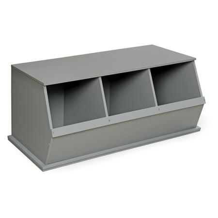 Badger Basket 3 Bin Stackable Storage Cubby, Gray - Gray Storage Bins