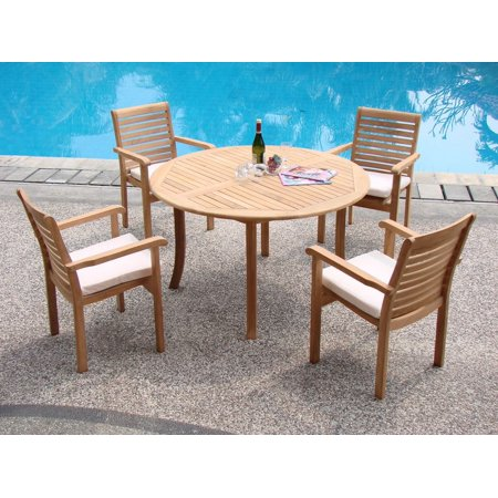 52 Round Table.Teak Dining Set 4 Seater 5 Pc 52 Round Table And 4 Hari Stacking Arm Chairs Outdoor Patio Grade A Teak Wood Wholesaleteak Wmdshr2
