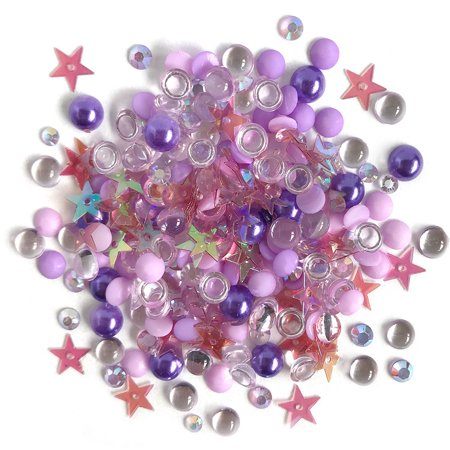 Buttons Galore Sparkletz Jellyfish - Clear Acrylic Gems, Sequins, Flat Back Pearls - 3 Packs 36 Grams