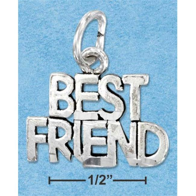 Sterling Silver Diamond Cut Best Friend Charm