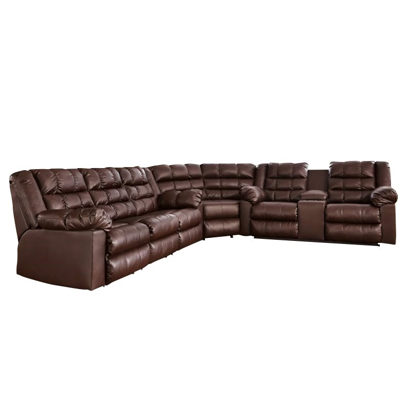 Ashley Brolayne 3 Piece Leather Reclining Sectional in Beige by Ashley Furniture