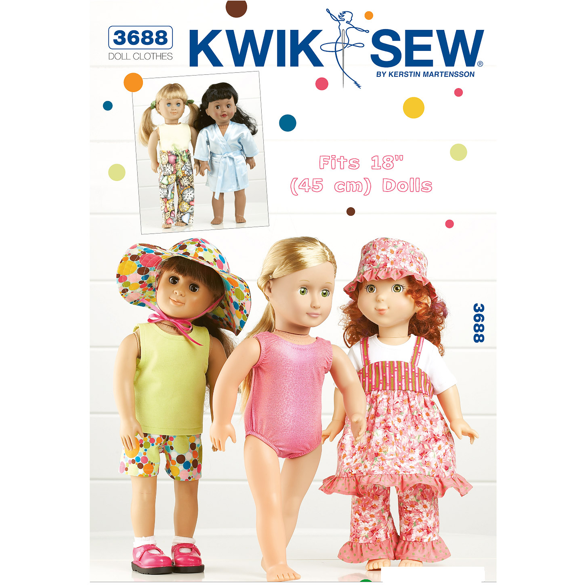 "Kwik Sew Pattern Playtime Doll Clothes, Fits 18"" Dolls"