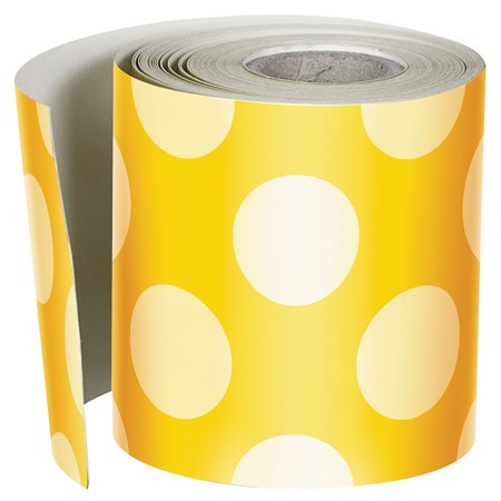 Ylw W Polka Dots Straight Borders - image 1 of 1