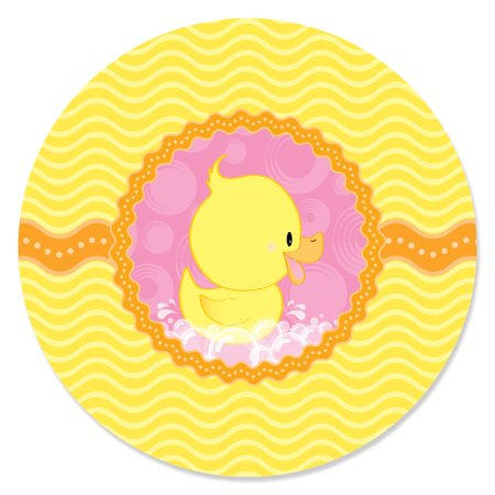 Pink Ducky Duck - Girl Baby Shower or Birthday Party Circle Sticker Labels - 24 Count - Rubber Duckie Baby Shower Decorations