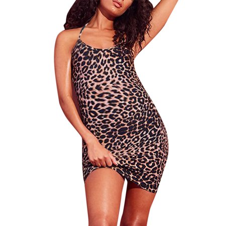 Jchiup Maternity Sexy Leopard Strappy Halter Backless Bodycon Mini (Leopard Halter)