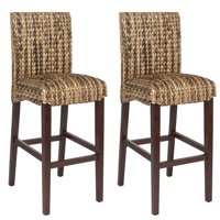 Best Choice Products Set of 2 Indoor Outdoor Hand Woven Water Hyacinth Abaca Banana Leaf Bar Stools w/ Mahogany Wood Frame for Bar Height, High-Top Table, Brown