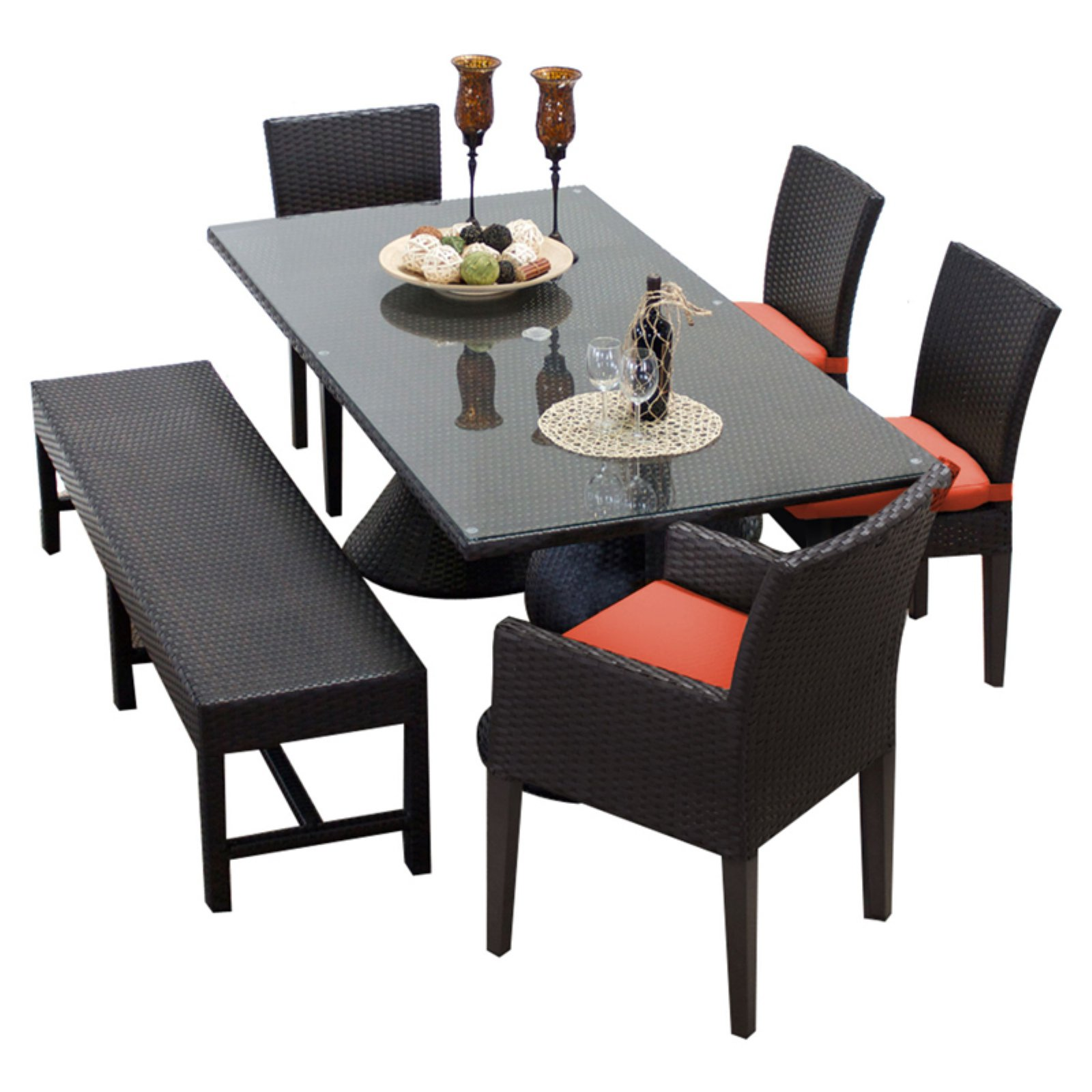 TK Classics Napa Wicker 6 Piece Rectangular Patio Dining Set with 8 Cushion Covers