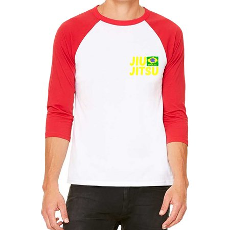 Unisex Chest Jiu Jitsu Brazil Flag White/Red C5 3/4 Sleeve Baseball T-Shirt X-Large Chest Padded Baseball Shirt