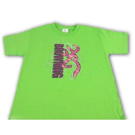 - Youth Browning Paisley Swirls Buckmark T-Shirt Girls Key Lime Green Tee Sz M