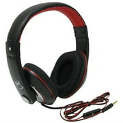 mobile spec ms50bkr chords series black/red stereo headphones with in-line microphone