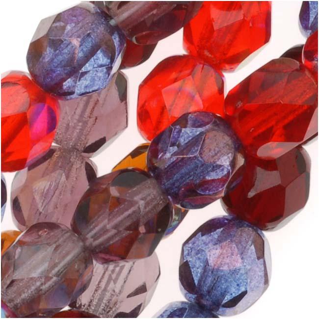 Czech Fire Polished Glass Beads 6mm Round Vineyard Red Purple Mix (50)