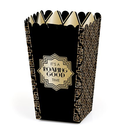 Roaring 20's - 1920s Art Deco Jazz Party Favor Popcorn Treat Boxes - Set of 12