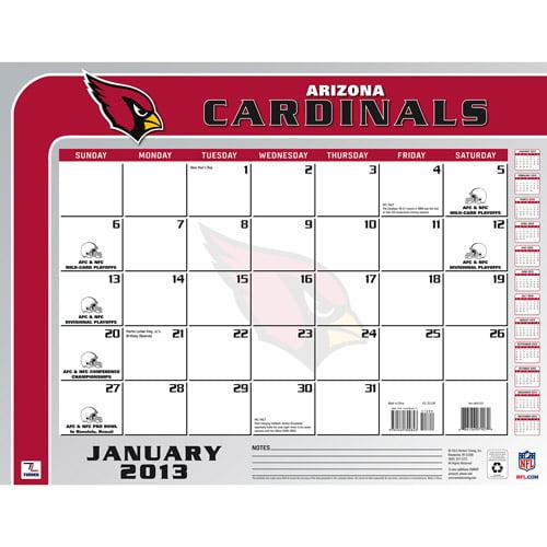 "Turner Licensing 2013 22"" x 17"" Desk Calendar, Arizona Cardinals"