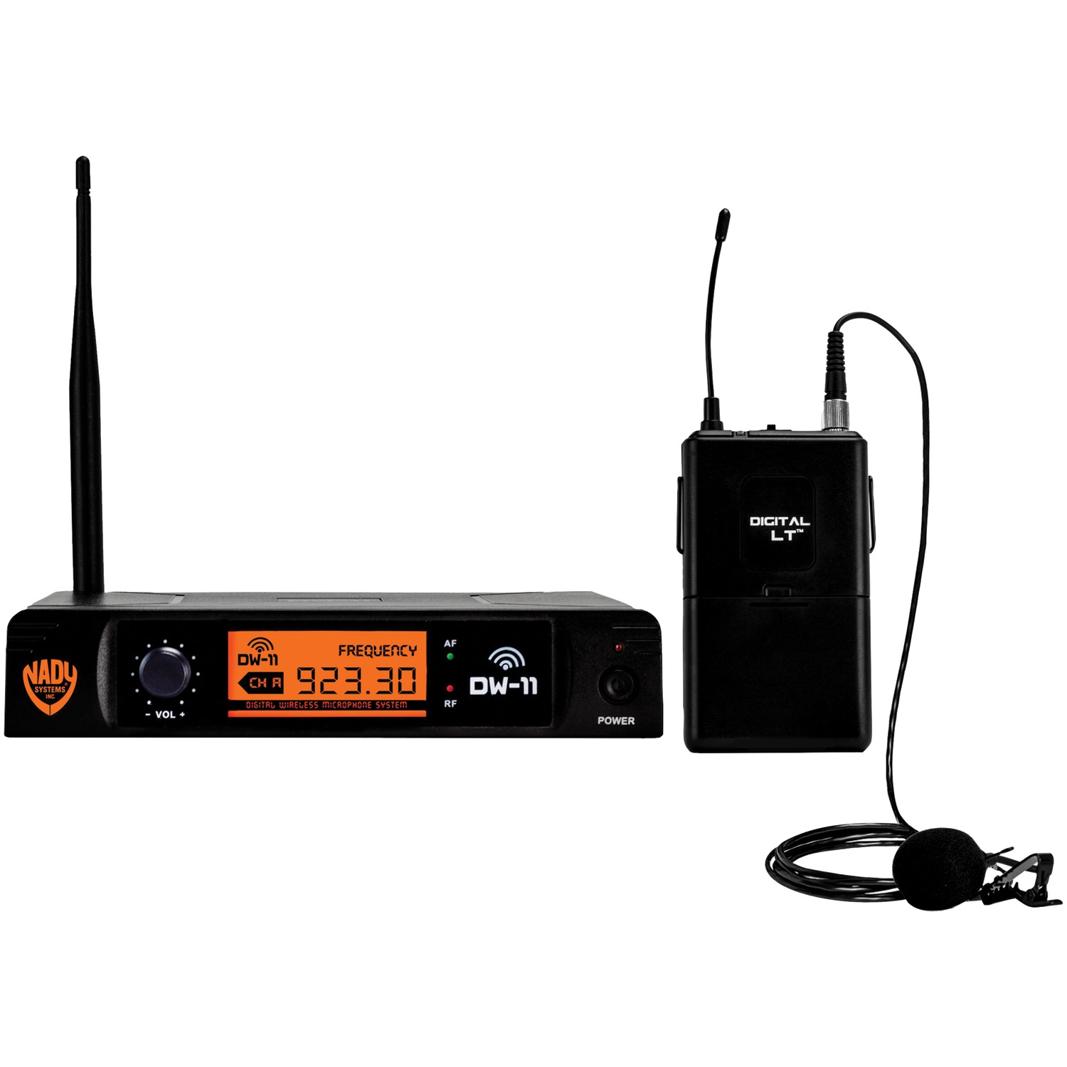 Nady DW-11-LT-ANY Single-Channel Digital Wireless Microphone System (Digital LT LM-14/O Lapel Microphone) & UPG AA 50 Pack