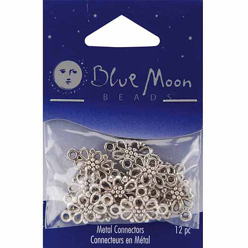 Blue Moon Silver Plated Metal Connectors, Flower, 12pk