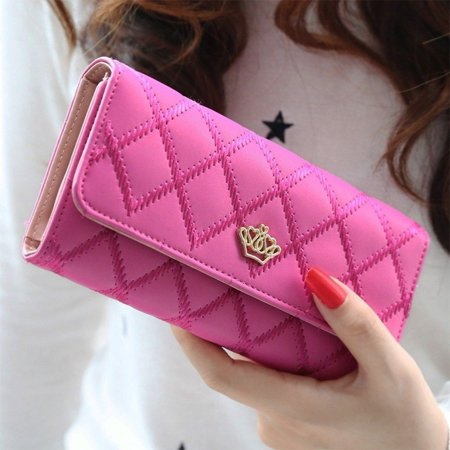 New Fashion Women Purse Wallet Long Card Holder Clutch Leather PU Wallets Crown - image 1 of 5