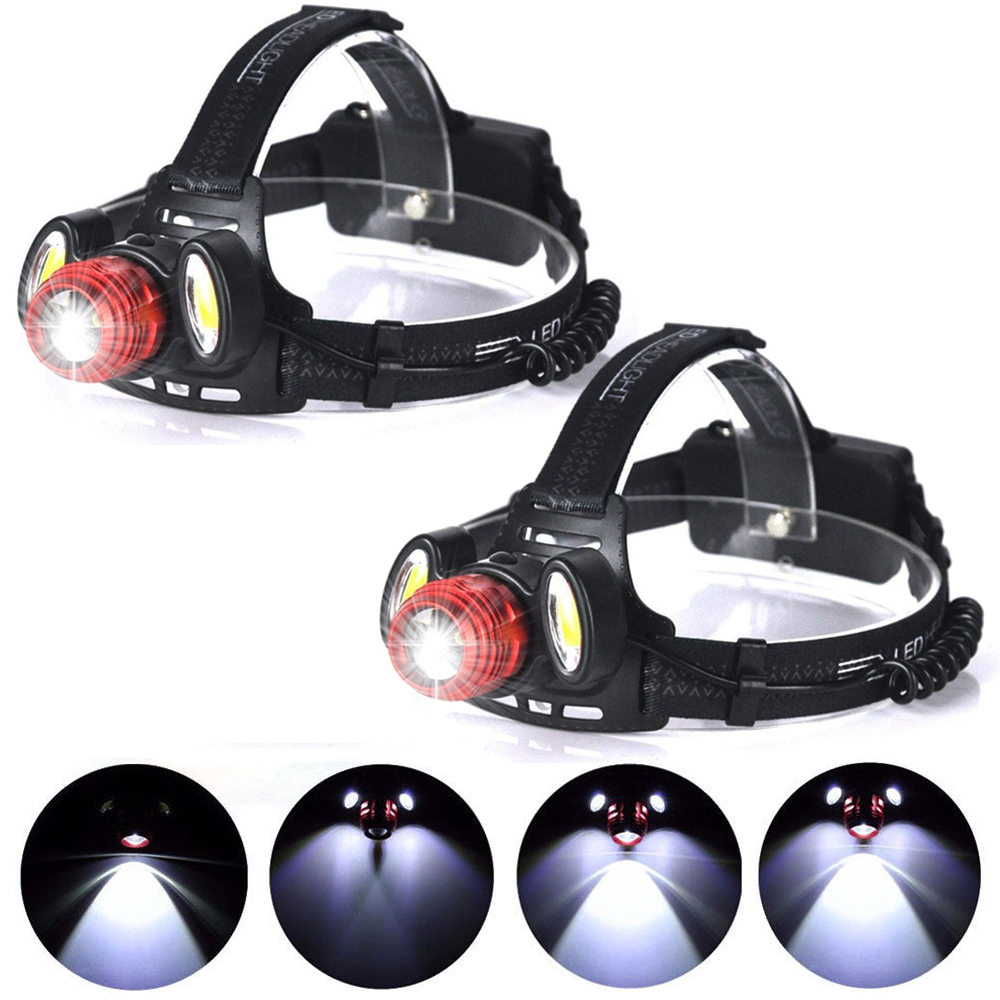 2-pack 15000LM LED Rechargeable Headlight 4 Modes Flashlight Torch Zoomable Headlamp