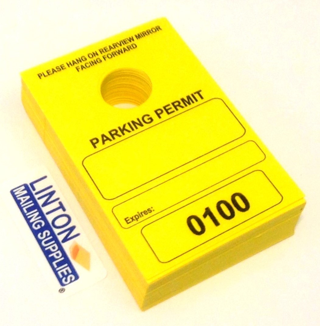 Pack of 50 Tags Temporary Parking Permit 7-3//4 x 4-1//4 Numbered with Tear-Off Stub Bright Fluorescent Orange Mirror Hang Tags 1701-1750