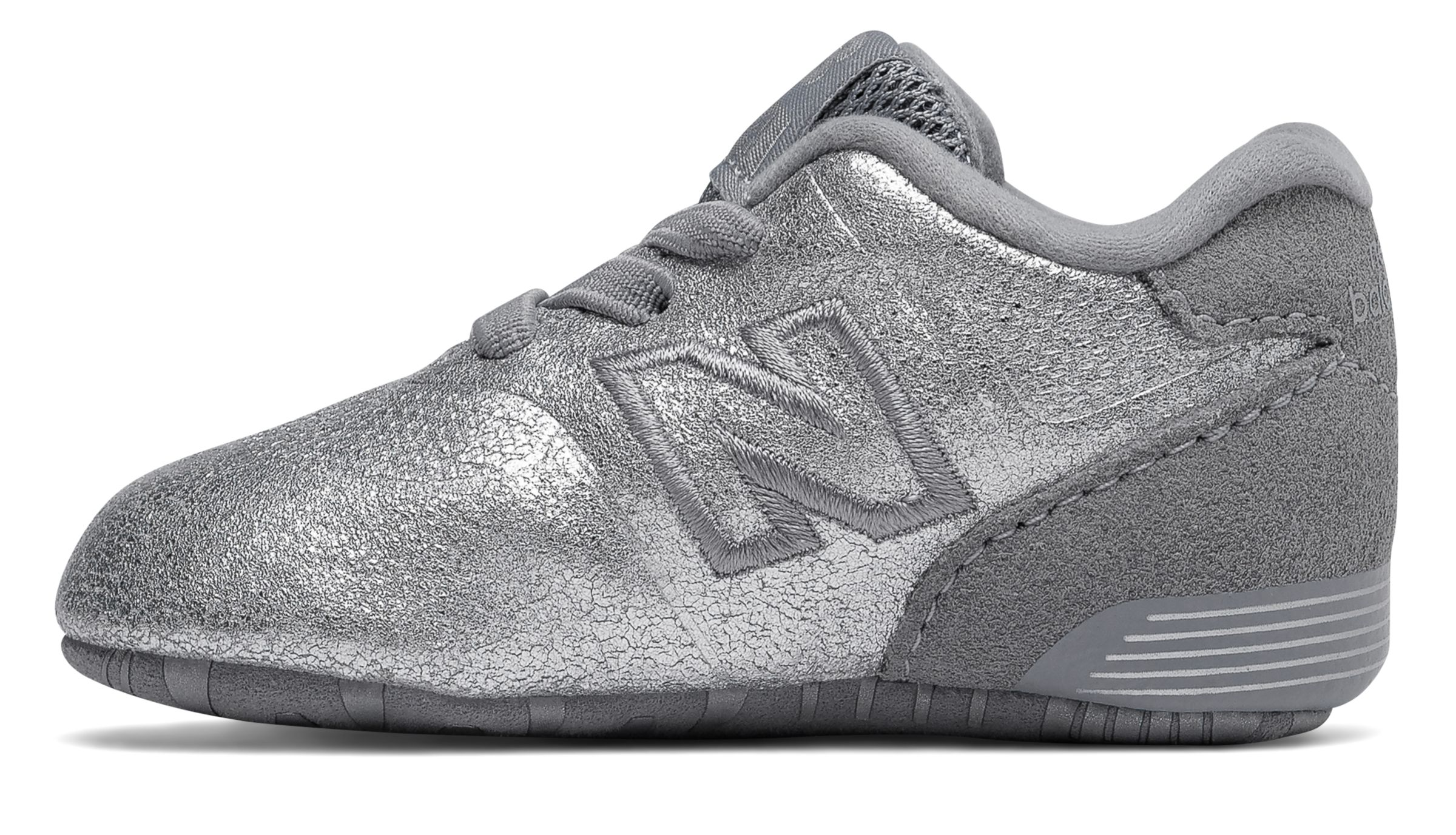 New Balance Kid/'s 574 Crib Infant Girls Shoes Silver