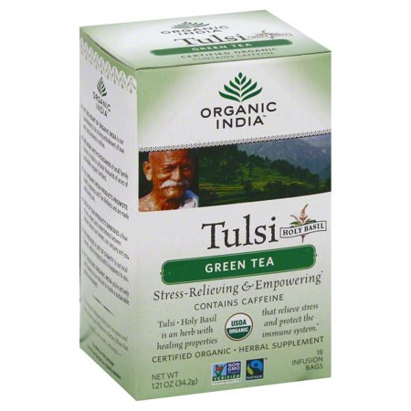 Organic India Tulsi Green Tea, 18-Count Teabags (Pack of