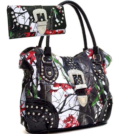 Gold Rush CAMWB80SET-RD - Mul Western Camo Print Rhinestone Buckle Shoulder Bag with Matching Wallet - Red & Multi Color (Camouflage Purse And Wallet Sets)