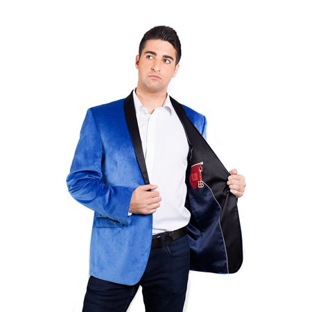 Men's Slim Fit Single Breasted Velvet Formal Tuxedo Dinner Jacket with Shawl - Aqua - M - Tux Coat