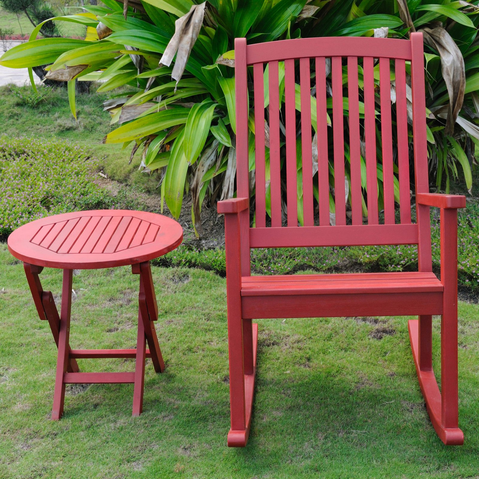 International Caravan Royal Fiji Acacia Wood 2 Piece Outdoor Rocking Chair and Table Set