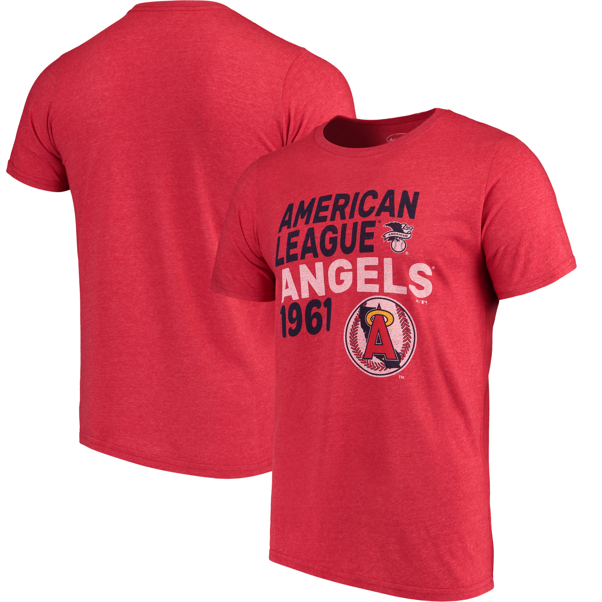 Los Angeles Angels Majestic Threads Throwback Cooperstown Collection Tri-Blend T-Shirt - Red