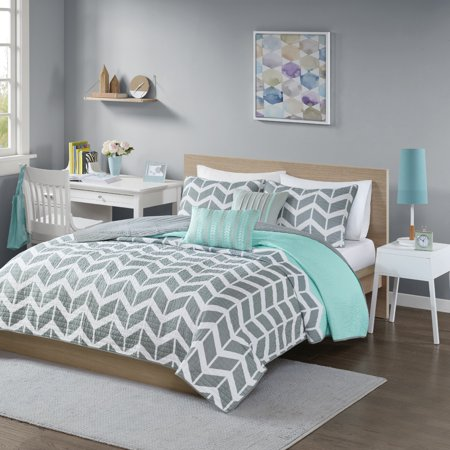 Teal Chevron Darcy Quilted Coverlet Set (Twin/Twin Extra Long) - 4pc
