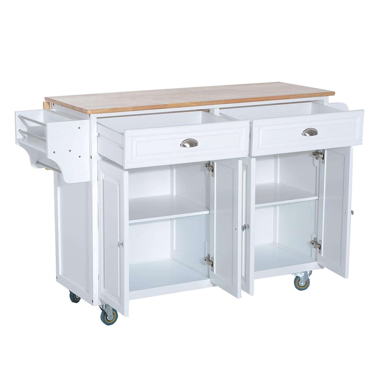 HOMCOM Rolling Kitchen Island Storage Cart Table w/ Drop Leaf Top ...
