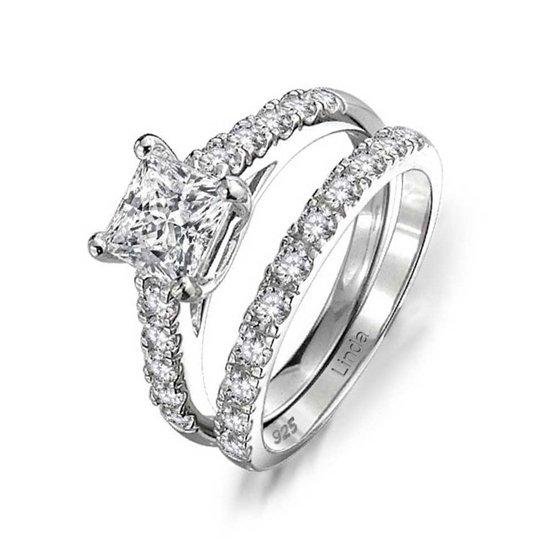 49d525944b7d39 Bling Jewelry - 1 CT Cubic Zirconia Square Princess Cut Solitaire Thin Pave  Band AAA CZ Engagement Wedding Ring Set 925 Sterling Silver - Walmart.com