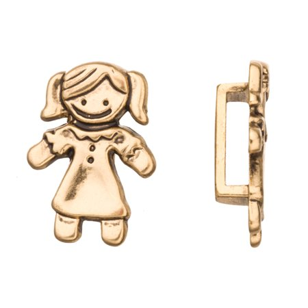 4pcs Girl In Dress Licorice Charms Fits Flat 10x2mm Licorice Leather Cord Antique Gold Finished 18x25mm