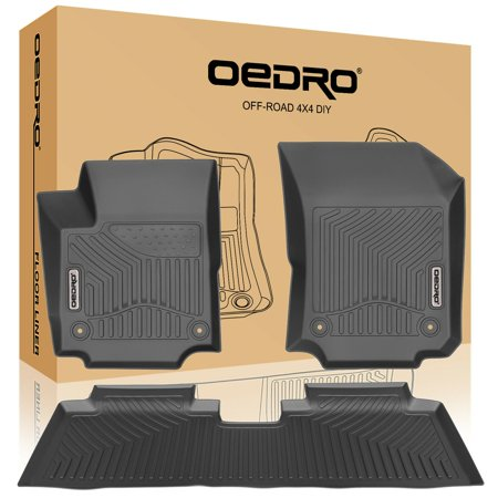 oEdRo Heavy Duty Rubber Floor Mats Black for 2018-2019 Chevrolet Equinox Full Set Liners All-Weather;includes 1st & 2nd Front Row and Rear Floor Liner Full (2nd Row Floor Liner)